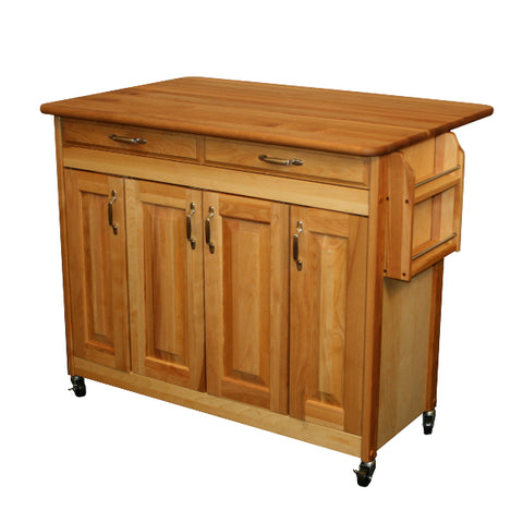 Catskill Craftsmen – Butcher Block Island with Raised Panel Doors and Drop Leaf