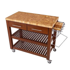 Chris & Chris - Chef Series Chop & Drop with Wood Shelves Kitchen Cart