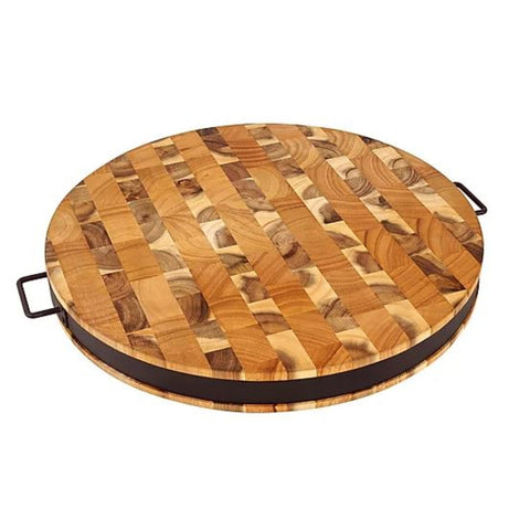 https://thekitchenislandstore.com/products/chris-chris-end-grain-reversible-round-cutting-board-with-metal-band SKU: JET7987