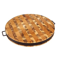 Chris & Chris - End Grain Reversible Round Cutting Board with Metal Band SKU JET7987 JET7988