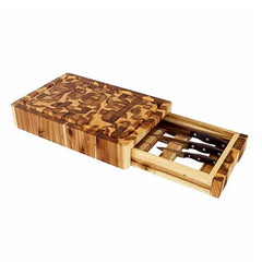 Chris & Chris - End Grain Cutting Board with Knife Drawer SKU JET7990