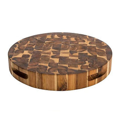 Chris & Chris - Round End Grain Acacia Reversible Cutting Board SKU JET7998