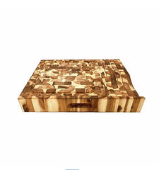 Chris & Chris - End Grain Acacia with Knife Holder Cutting Board SKU JET7999