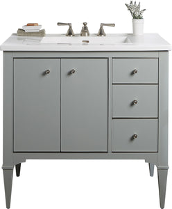 "Fairmont Designs 1510-V36RA Charlottesville 36"" Free Standing Single Bathroom Vanity with Three Drawers in Light Gray"