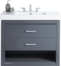 "Load image into Gallery viewer, Fairmont Designs 1518-WV3618 Studio One 36x18"" Wall Mount Vanity in Glossy Pewter"