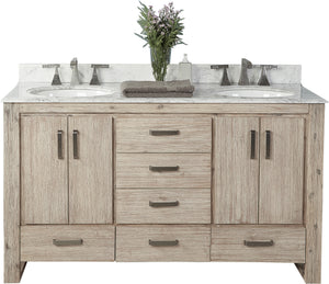 "Fairmont Designs 1530-V6021D Oasis 60"" Free Standing Double Bathroom Vanity with Six Drawers in Sand Pebble"