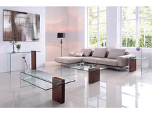 Load image into Gallery viewer, BUONO Walnut Veneer  w 1/2 Clear Glass  End Table by Casabianca Home