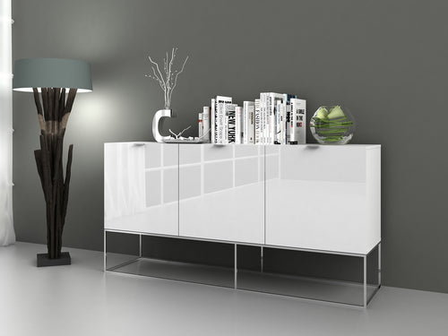 VIZZIONE High Gloss White Lacquer / Stainless Steel  Buffet by Casabianca Home