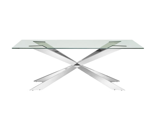 VORTEX Clear Glass / Stainless Steel  Dining Table by Casabianca Home