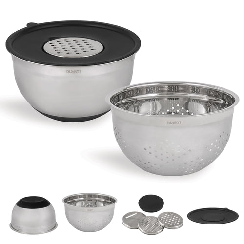Ruvati 5 quart mixing bowl and colander set with grater attachments (6 piece set) - RVA1255