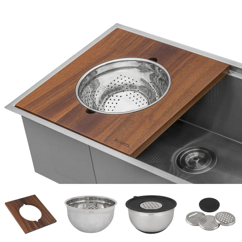 Ruvati Wood Platform with Mixing Bowl and Colander (complete set) for Workstation Sinks - RVA1288