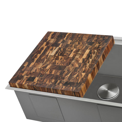 Ruvati 17 x 16 x 2 inch thick End-Grain Acacia Butcher Block Solid Wood Large Cutting Board - RVA2445ACA