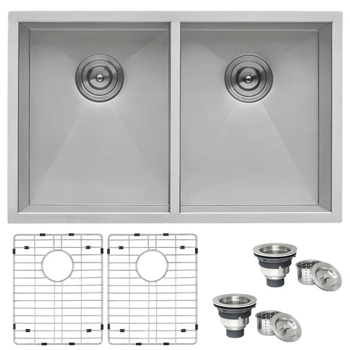 Ruvati 30-inch Undermount 50/50 Double Bowl Zero Radius 16 Gauge Stainless Steel Kitchen Sink - RVH7350