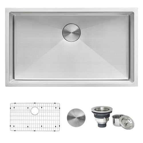 Ruvati 33-inch Undermount 16 Gauge Tight Radius Large Kitchen Sink Stainless Steel Single Bowl - RVH7433