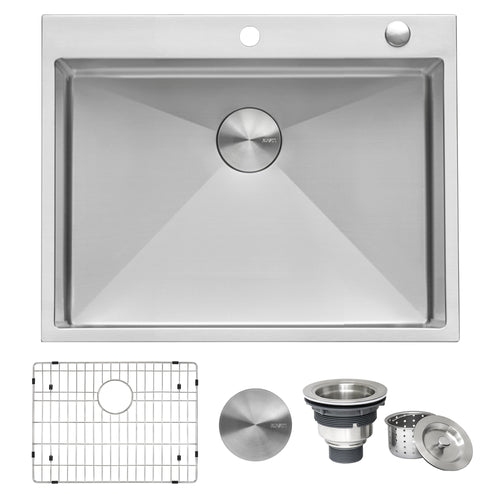 Ruvati 28-inch Drop-in Tight Radius Topmount 16 Gauge Stainless Steel Kitchen Sink Single Bowl - RVH8008