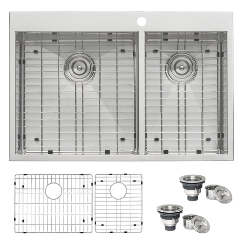 Ruvati 33 x 22 inch Drop-in 60/40 Double Bowl 16 Gauge Zero Radius Topmount Stainless Steel Kitchen Sink - RVH8050