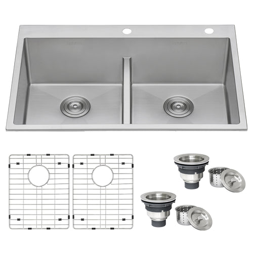 Ruvati 33 x 22 inch Drop-in 50/50 Double Bowl Tight Radius 16 Gauge Topmount Stainless Steel Kitchen Sink - RVH8051