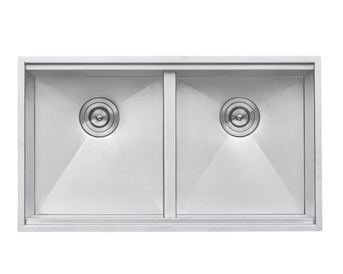 Ruvati 30-inch Workstation Ledge 50/50 Double Bowl Undermount 16 Gauge Stainless Steel Kitchen Sink - RVH8345