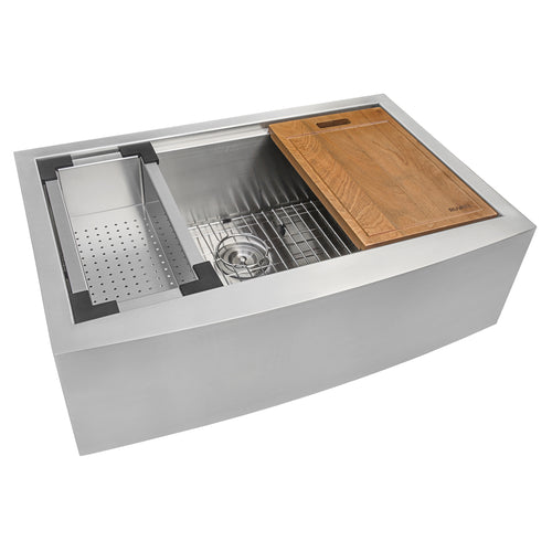 Ruvati 27-inch Apron-front Workstation Farmhouse Kitchen Sink 16 Gauge Stainless Steel Single Bowl - RVH9020
