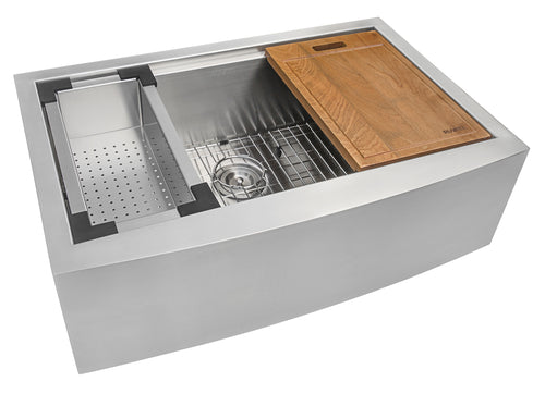 Ruvati 33-inch Apron-front Workstation Farmhouse Kitchen Sink 16 Gauge Stainless Steel Single Bowl - RVH9200