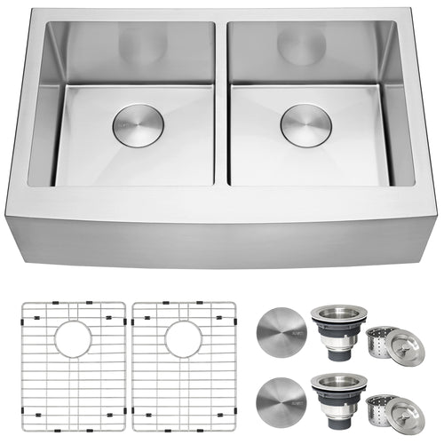 Ruvati 33-inch Farmhouse Apron-Front 50/50 Double Bowl Kitchen Sink Stainless Steel - RVH9540