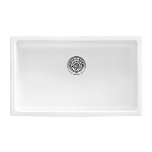 Ruvati 30-inch Fireclay Undermount / Drop-in Topmount Kitchen Sink Single Bowl - White - RVL3030WH