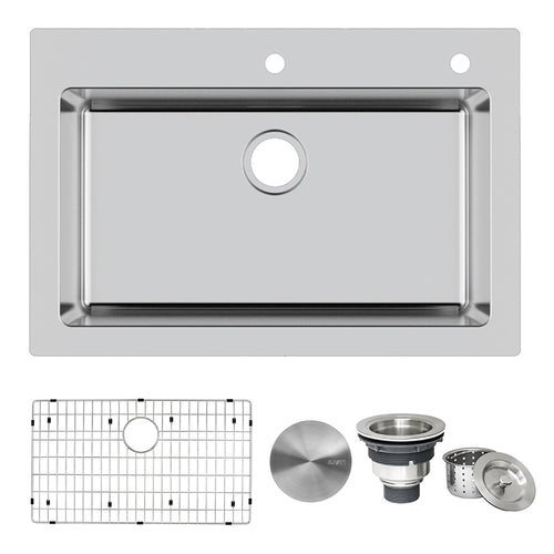 Ruvati 33 x 22 inch Drop-in Topmount Kitchen Sink 16 Gauge Stainless Steel Single Bowl - RVM5001
