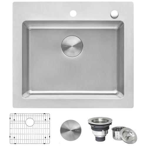 Ruvati 25 x 22 inch Drop-in Topmount Kitchen Sink 16 Gauge Stainless Steel Single Bowl - RVM5025