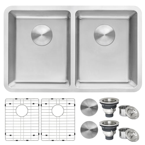 Ruvati 28-inch Undermount Kitchen Sink 50/50 Double Bowl 16 Gauge Stainless Steel - RVM5077