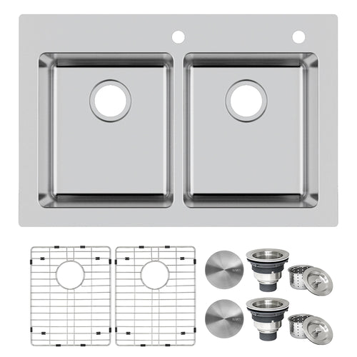 Ruvati 33 x 22 inch Drop-in Topmount Kitchen Sink 16 Gauge Stainless Steel 50/50 Double Bowl - RVM5150
