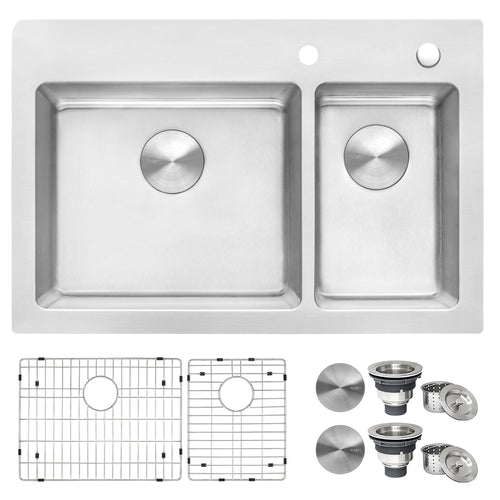 Ruvati 33 x 22 inch Drop-in Topmount Kitchen Sink 16 Gauge Stainless Steel 70/30 Double Bowl - RVM5173