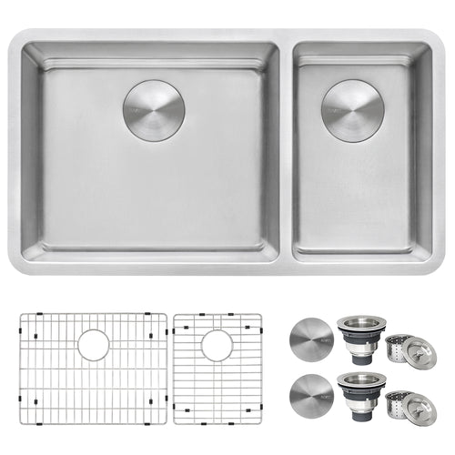 Ruvati 32-inch Undermount Kitchen Sink 70/30 Double Bowl 16 Gauge Stainless Steel - RVM5300
