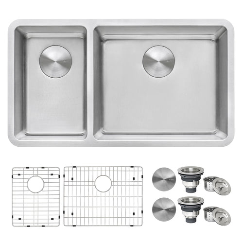Ruvati 32-inch Undermount Kitchen Sink 30/70 Double Bowl 16 Gauge Stainless Steel - RVM5307