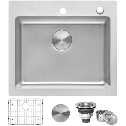 Ruvati 23 x 20 inch Drop-in Topmount Kitchen Sink 16 Gauge Stainless Steel Single Bowl - RVM5923