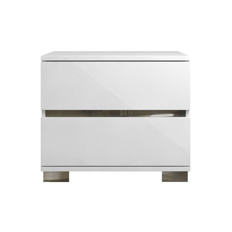 SPARK High Gloss White Lacquer Stainless Steel Nightstand / End Table