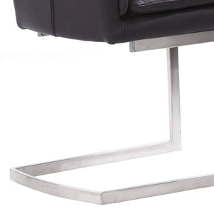 Fenton Contemporary Dining Chair in Brushed Stainless Steel Finish with Grey Faux Leather - Set of 2