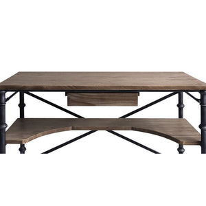 Theo Industrial Desk in Industrial Grey and Pine Wood Top