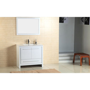 "Adornus Alexa Vanity, High Gloss White, 36""x18"""