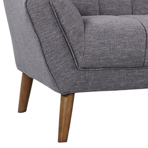 Cobra Mid-Century Modern Sofa in Dark Gray Linen and Walnut Legs