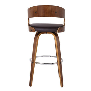 "Shelly 30"" Bar Height Barstool in Walnut Wood Finish with Brown PU"