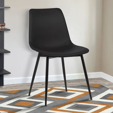 Load image into Gallery viewer, Monte Contemporary Dining Chair in Black Faux Leather with Black Powder Coated Metal Legs