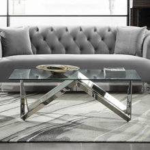 Load image into Gallery viewer, Scarlett Contemporary Rectangular Coffee Table in Polished Steel Finish with Tempered Glass Top