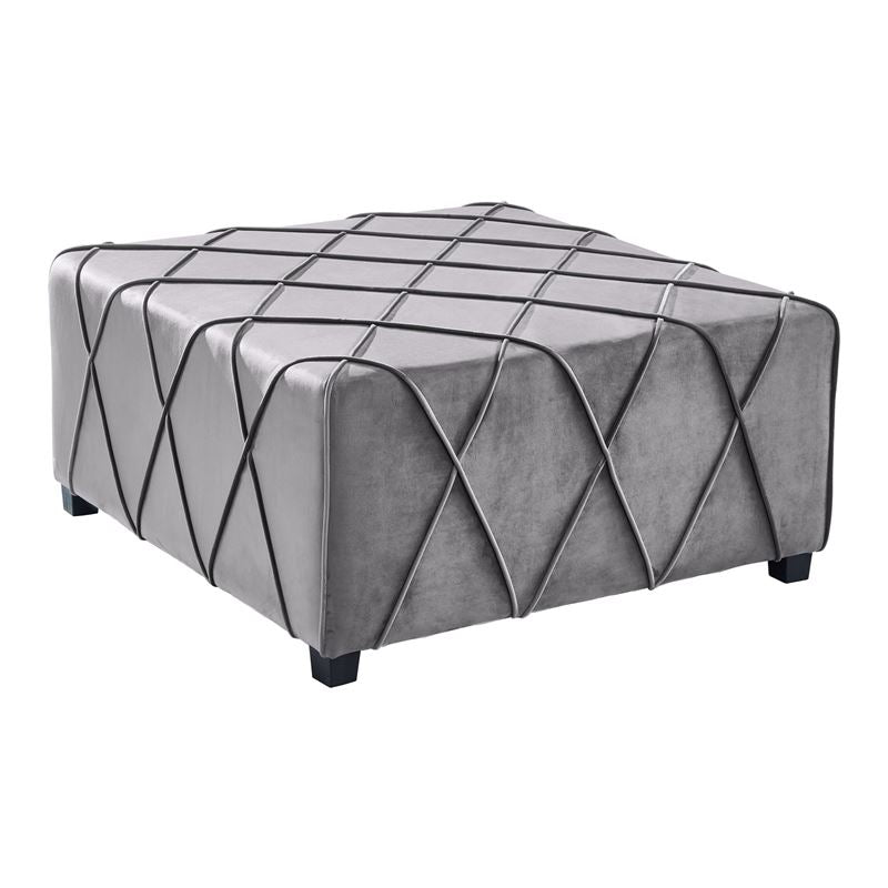 Gemini Contemporary Ottoman in Grey Velvet with Piping Accents and Wood Legs