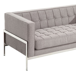 Andre Contemporary Loveseat In Gray Tweed and Stainless Steel