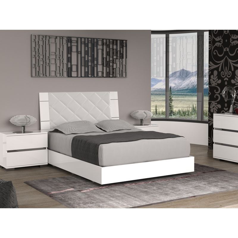 DIAMANTI Light Gray Eco-leather Headboard and High Gloss White Lacquer King Bed
