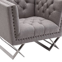 Load image into Gallery viewer, Odyssey Sofa Chair in Brushed Stainless Steel finish with Grey Tweed and Black Nail heads