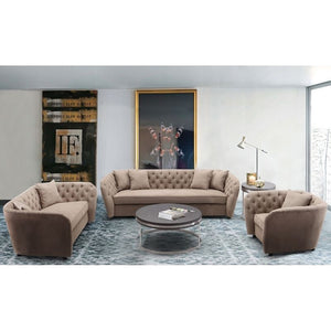 Rhianna Transitional Loveseat in Camel Tufted Chair