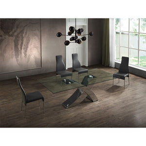 GENEVA Chrome / Clear Glass Dining Table by Casabianca Home