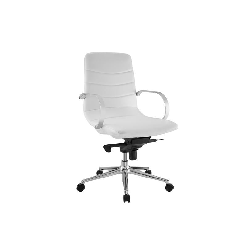 HORIZON White Eco-Leather Arm Office Chair by Casabianca Home
