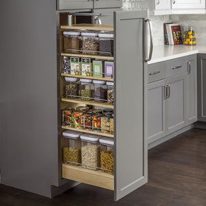 "Wood Pantry Cabinet Pullout 8-1/2"" x 22-1/4"" x 60""."